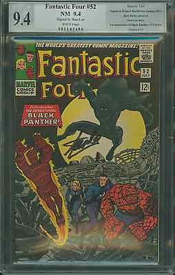 Fantastic Four #52 PGX 9.4 SS Signed Stan Lee Origin/1st App. of Black Panther!
