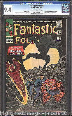 FANTASTIC FOUR # 52 CGC 9.4 1ST BLACK PANTHER  MOVIE COMING SOON!! # 1219147001
