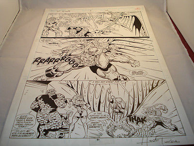 ORIGINAL FANTASTIC FOUR UNLIMITED #3 PAGE 51 QUART SIGNED by HERB TRIMPE C.O.A.