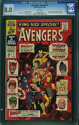 Avengers Annual #1 CGC 8.0 Marvel 1967 WHITE pages Movie Iron Man Thor 126 cm