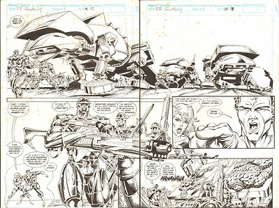 FANTASTIC FOUR UNLIMITED #1 PAGES 12 & 13 COMIC ORIGINAL ART HERB TRIMPE 1992