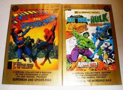 BATMAN VERSUS THE HULK SUPERMAN AND SPIDERMAN MARVEL DC COMICS GOLD REPRINTS