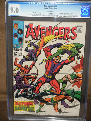 AVENGERS #55 CGC 9.0 WHITE PAGES 1ST ULTRON AVENGERS MOVIE