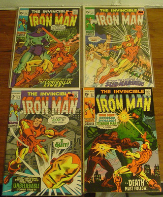 The Invincible Iron Man #21-22-25-28 **Fine+ to VF+** ( 1969 ) Marvel Comics