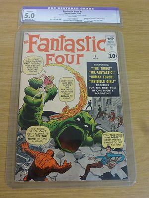 FANTASTIC FOUR #1 CGC 5.0 (Restored Grade) 1st Silver age App. Fantastic Four