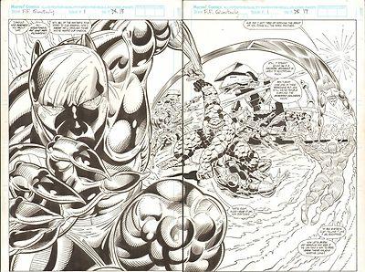 FANTASTIC FOUR UNLIMITED #1 SPLASH PAGES 18 & 19 COMIC ORIGINAL ART HERB TRIMPE