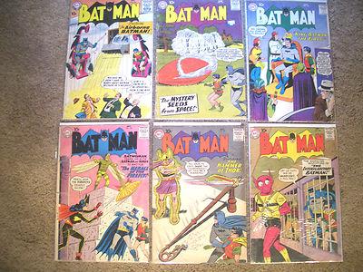 1958 - 1959 * BATMAN * 6 DC Comics Group Lot #120 to 128 * est GD- to VG Quality