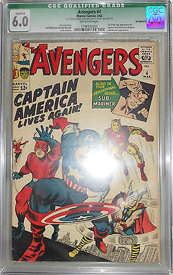 Avengers 4 CGC 6.0 Qualified, 1st Silver Age Captain America, Sub-mariner