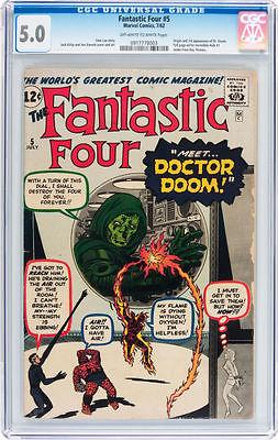 Fantastic Four #5 CGC 5.0 1st Dr. Doom 1962 Hulk Avengers move C9 913 1 cm