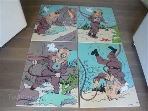4 Plaques Emaillées Tintin Serie Rackham No Aroutcheff Leblon Pixi TBE