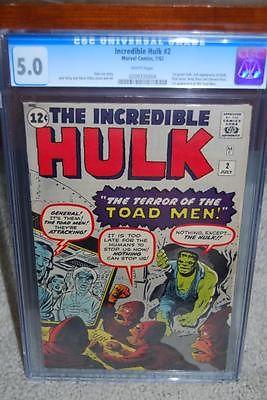 Hulk #2 CGC 5.0 1962 1st Green Hulk Avengers WHITE pages C10 204 1 cm