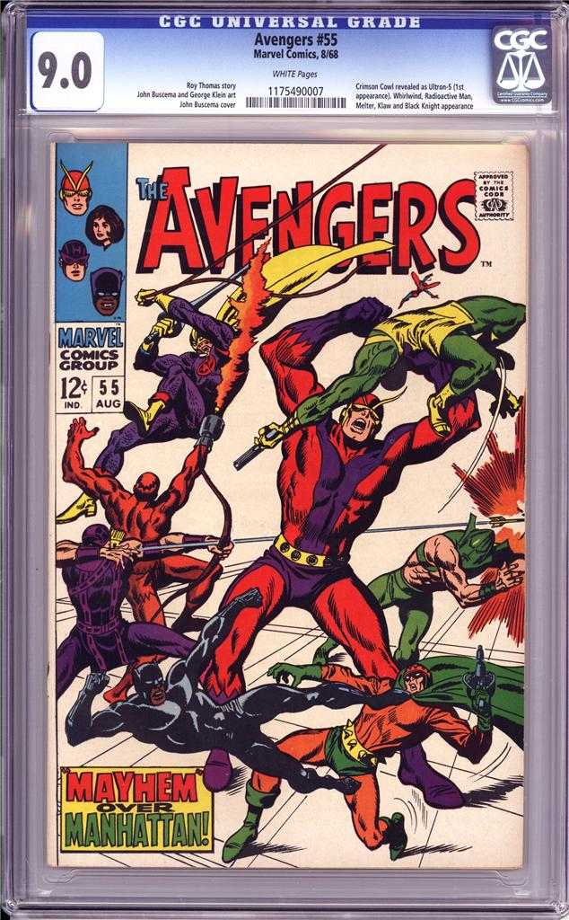 AVENGERS #55 CGC 9.0   WHITE PAGES    1ST APPEARANCE OF ULTRON