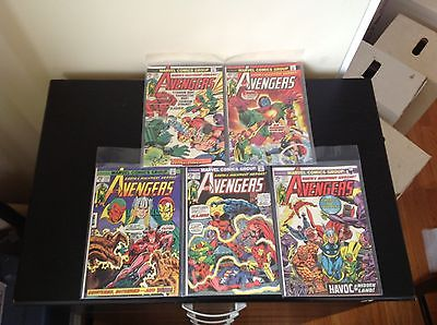 Lot Of 5 Avengers Marvel Comic Books #126 127 128 129 130 Iron Man Hulk Thor WOW