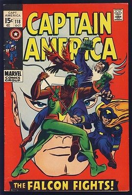 CAPTAIN AMERICA #118 FINE KEY ISSUE 1969 2ND APP FALCON SHARP FRONT COVER COLORS