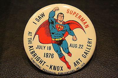 "3-1/2"" Vintage 1976 Superman NPP Button Albright-Knox Art Gallery DC COMICS"