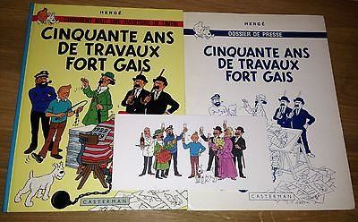 Hergé Tintin Cinquante ans de Travaux Fort Gais EO 1978 + Dossier + Carton NEUF.