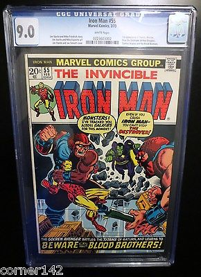 Iron Man # 55 CGC 9.0 1 st Thanos  WHITE Pg Copy. Key Iron Man, Avengers