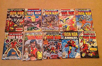 Lot 10 Marvel Comics Bronze Age IRON MAN #56,115-118,122-123,128 + Giant/Annual