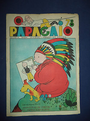 Couverture - Tintin en Amérique - O Papagaio #78 - 1936 - Magazine Portugais
