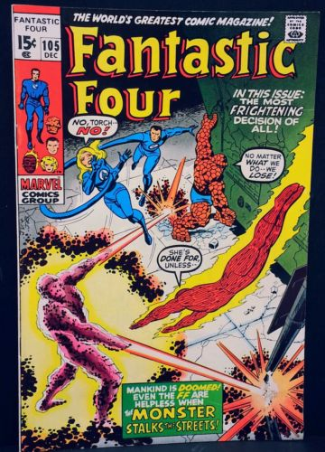 FANTASTIC FOUR 105 old key appearance app 1 Comic VF The Thing first vtg antique