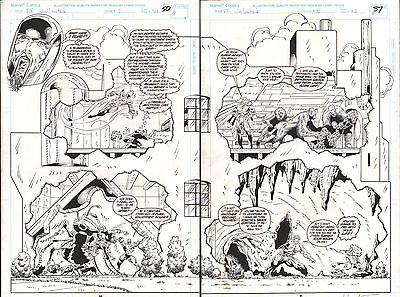 FANTASTIC FOUR UNLIMITED #5 PAGES 50 & 51 COMIC ORIGINAL ART HERB TRIMPE