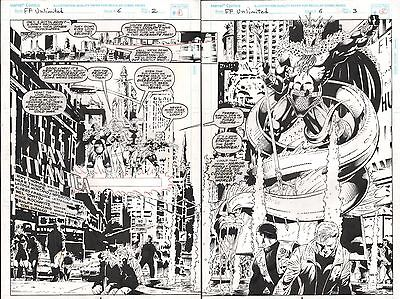 FANTASTIC FOUR UNLIMITED #6 PAGES 2 & 3 SPLASH COMIC ORIGINAL ART HERB TRIMPE