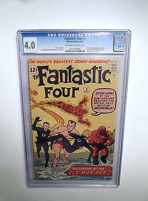 Fantastic Four # 4 CGC 4.0 1 st Print, Key Origin Issue .Unrestored