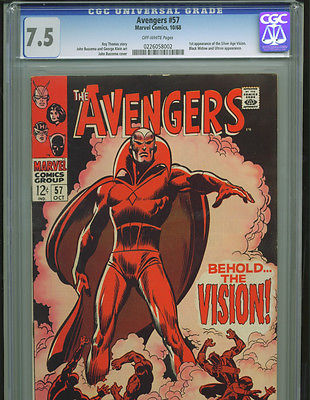 Avengers 57 CGC 7.5 1st appearance of Vision Marvel KEY Captain America Hawkeye