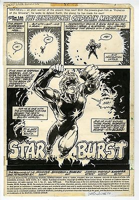 Captain Marvel #57 Splash Original Art Star Burst Pat Broderick Marvel Bronze