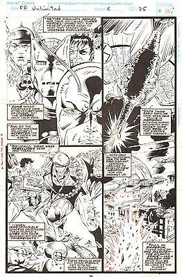 Fantastic Four Unlimited #6 Original Comic Art Marvel HERB TRIMPE with Avengers