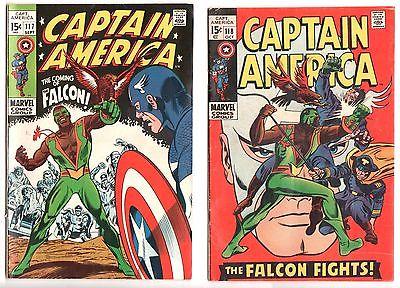 Captain America #117 1st Falcon Very Fine VF, #118  FN- Lot/Set Sept/Oct 1969