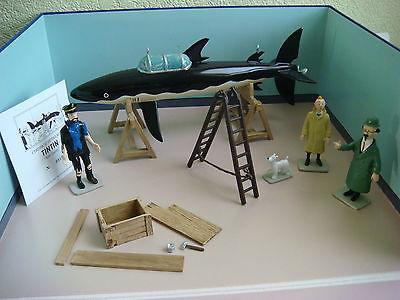 Tintin scène requin plomb Trésor Rackham le rouge 1000 ex Pixi Moulinsart Hergé