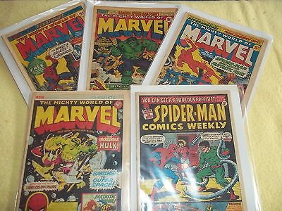 The Mighty World of Marvel no.s 2,3,4,5 & Spider-man Comics Weekly no.3 1972/3