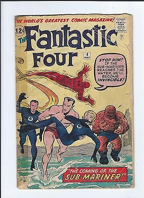 Fantastic Four #4 Vol 1 G/VG 3.0 Qualified 1st App of the Silver Age Sub-Mariner