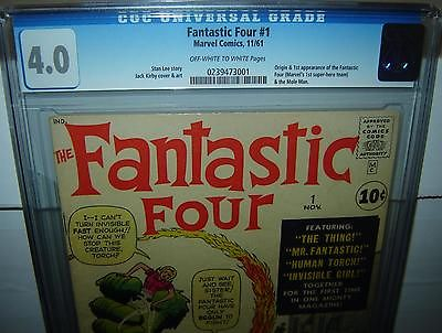 Fantastic Four #1 (CGC 4.0) OW/WHITE PAGES; Jack Kirby, 1961 Marvel (id# 12001)