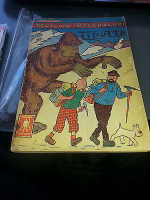 TINTIN HERGE TURKISH 2nd AMAZING ART 1960s IN TIBET 32 pages X 3 UNIQUE