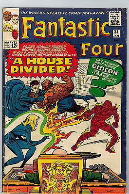 FANTASTIC FOUR #34 VG+ First App. of Thomas Gideon #1 of dozens $ave/ $hipping