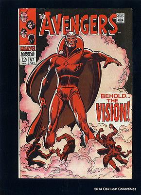 Avengers #57 VF/NM Marvel Comics Thor Captain America 1968 1st Vision