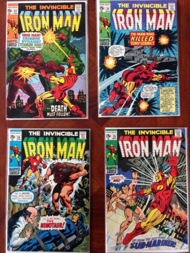 The Invincible Iron Man #22, 23, 24, 25 Silver Age Marvel Comic Feat. Submariner