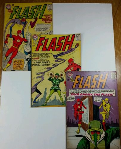"""3-""""the Flash"""" DC Silver Age #134,138,147 Reverse Flash+Elongated Man more(1963)"""