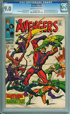 Avengers 55 CGC 9.0 VF/NM  OW/W Pages Marvel 1968 1st Appearance of Ultron