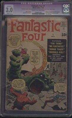 Marvel Comics THE FANTASTIC FOUR #1 11/1961 1st APP Fantastic 4 Mole Man CGC 3.0