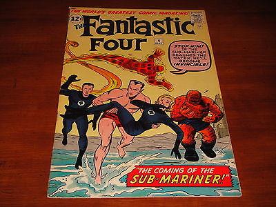 Fantastic Four #4 Vol 1 High Grade Unrestored Qual. VF/NM 9.0 1st SA Sub-Mariner