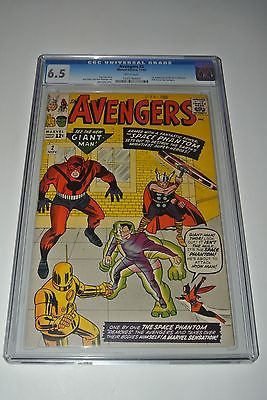 AVENGERS #2  CGC 6.5  WHITE PAGES (Marvel 11/1963) STAN LEE/JACK KIRBY CLASSIC