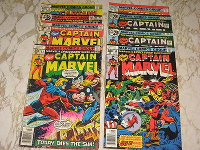 LOT OF 10 Captain marvel Comics Key Issues #50 App. AVENGERS,#57  Vs THOR,
