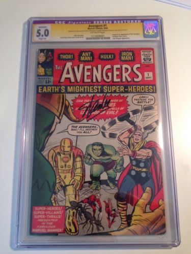 AVENGERS #1 1963 CGC 5.0 Signed Stan Lee