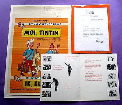 TINTIN HERGE MOI TINTIN AFFICHE SIGNEE GERARD VALET LETTRE SIGNEE HERGE +DOSSIER
