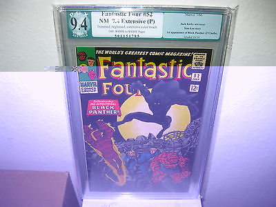 FANTASTIC FOUR 52 NM PGX 9.4 FIRST BLACK PANTHER KEY RESTORED NOT CGC