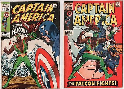 Captain America #117 (VG) & #118 (FN-) (1968 Series) 1st Falcon Sep/Oct 1969