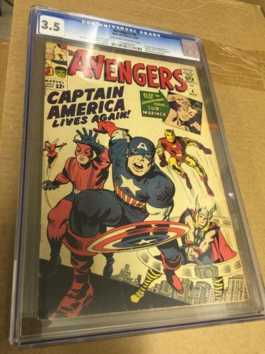 Avengers 4 1st SA Captain America CGC 3.5 OW/W